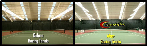 Boeing Tennis Court Lighting Before and After